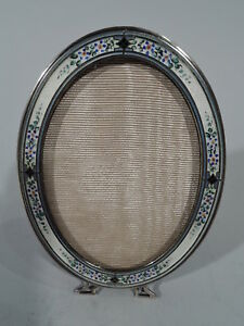 Blackinton Frame 5533 Picture Photo Oval American Sterling Silver Enamel