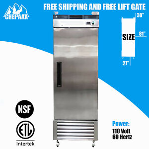 One 1 Door Stainless Steel Restaurant Commercial Freezer Fridge Icebox Nsf Etl