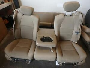 1999 2007 Ford F250 F350 Tan Cloth Seats Front Rear With Jump Seat Nice