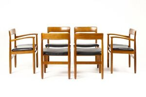 Danish Modern Mid Century Teak Dining Chairs By Younger Black Set Of 6