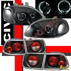 96 98 Honda Civic 2dr Coupe Dual Halo Projector Headlights Tail Lights Black