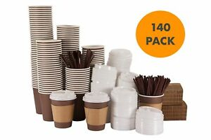 Bilubah 140 Pack 12 Oz Disposable Hot Paper Coffee Cups With Lids Sleeves And
