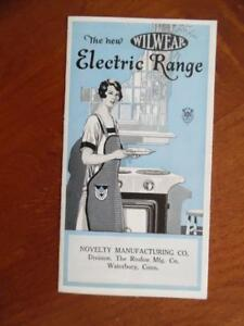 C 1920s Wilwear Electric Range Catalog Brochure Novelty Mfg Co Waterbury Vintage