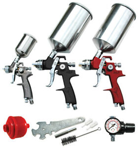 Atd Tools Combo 9pc Hvlp Spray Gun Set W Face Masks W 6 Random Orbital Palm