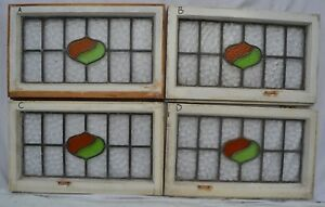 4 Art Deco Leaded Light Stained Glass Window Panels Above Door Size B631a D