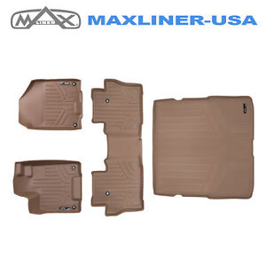 Smartliner Floor Mats Set 2 Rows And Cargo Liner Tan For Honda Pilot 2016 2019