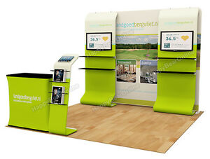 Trade Show A8 Display Booth Package 10ft tv Stand Display Shelves Header