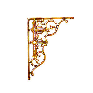 Victorian Shelf Brackets Solid Cast Brass Vintage Old Style Reproductions Pair
