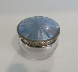 Antique Engraved Glass Dresser Box Sterling Silver Guilloche Enamel Lid