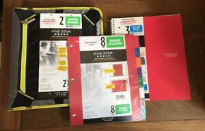 new Five Star 2 Zipper Binder Expansion Panel 3 Sub Notebook 8tab Dividers