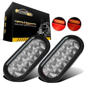 2pc 6 Clear Red 10 Led Stop Tail Turn Brake Lights Trailer Boat W Grommet Mount