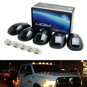 5pc Set Smoked Lens Truck Cab Roof Lights W Amber Led Bulbs For Truck Suv 4x4