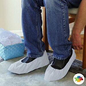 Valutek Disposable Shoe Covers 100 Pieces Waterproof polyethylene elastic Ankle