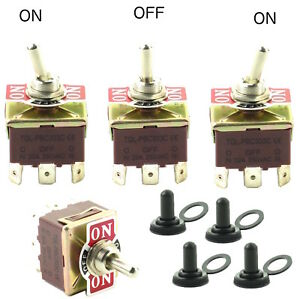 4 Toggle Switches W Waterproof Boots 32a 250vac 3p 9 Spade Terminal On off on