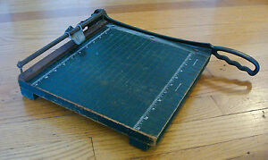 Vintage 11 Paper Cutter Guillotine Cast Metal Cutting Arm Sharp Photos Crafts