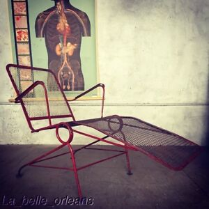 Vintage 1950 S Iron Lounge Rocker Patio Garden Chair Red Patina L K