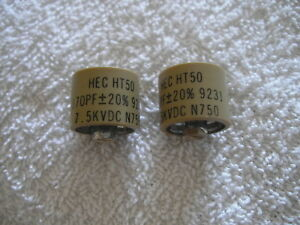 2x Hec Ht50 170pf 20 7 5kvdc N750 Ceramic High Voltage Capacitor 9231