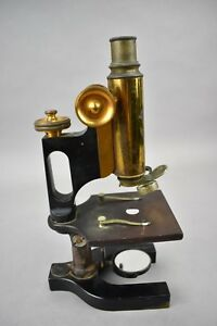 Antique Bausch And Lomb Microscope Brass And Iron