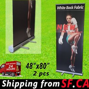 Retractable Roll Up Banner Stand Trade Show Pop Up Display Stand 2 Pcs 48 X 80