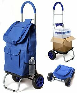 Utility Carts Trolley Dolly Blue Shopping Grocery Foldable