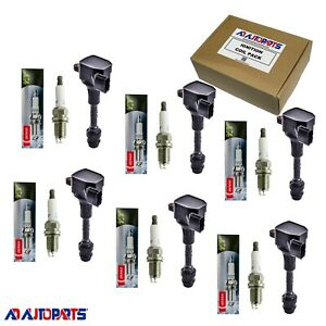 Set Of 6 Oem Platinum Tt Spark Plug 6 Ignition Coils For Infiniti