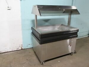 b K I H d Commercial Heated Lighted Self serve Hot Food Merchandiser Island