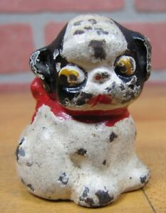 Old Cast Iron Fido Dog Paperweight Decorative Statue Small Childs Toy Down Ears