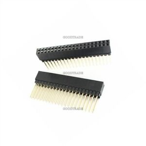 50pcs 2 54mm Pitch 2x20 Pin 40 Pin Female Double Row Long Pin Header Strip Pc1 Q