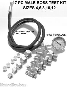 Hydraulic O ring Boss Orb Pressure Test Kit 0 6 000 Psi Tractor Forklift Tester