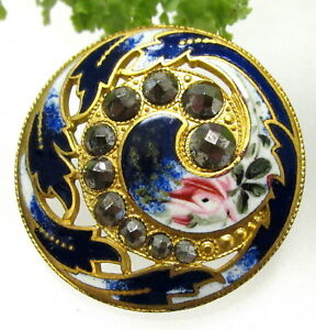 Stunning Antique Champleve Enamel Paisley Button Open Work W Cut Steels P101