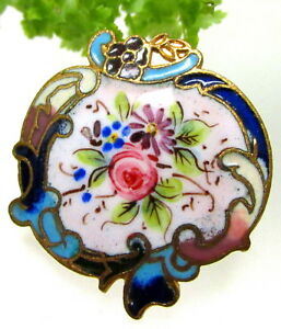 Beautiful Antique Floral Champleve Enamel Button With Rococo Border P102
