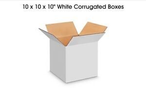 10 X 10 X 10 White Shipping Boxes 200lb Test Fast Shipping