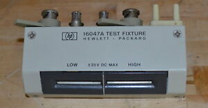 Hp Agilent 16047a Lcr Meter Test Fixture W radial Lead Inserts Good 13mhz