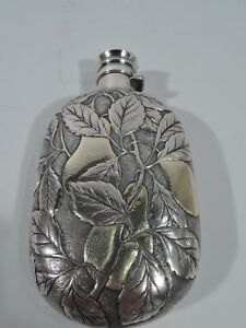 Gorham Flask 76 Antique Barware American Sterling Silver Parcel Gilt