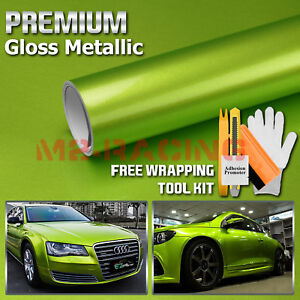 Premium Lime Green High Gloss Metallic Glossy Sticker Decal Vinyl Wrap Air Free
