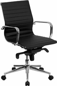 Mid back Black Ribbed Upholstered Leather Swivel Conference Chair