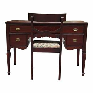 Antique Federal Marvel Furniture Mahogany Desk Klismos Chair Jamestown Ny 1920