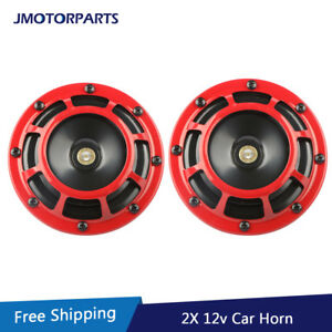 12v Red Super Loud Electric Blast Tone Grill Mountcompact Car Horn 335hz 400hz