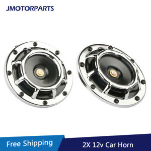 12v Super Loud Blast Tone Grill Mount Electric Compact Chrome Car Horn 335 400hz