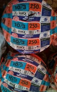 Romex Southwire 10 3 Solid Simpull Nm b Copper Wire Indoor New 250 Ft 1 Roll