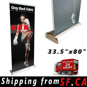 33 5 X 80 In deluxe Retractable Roll Up Banner Aluminum Stand Trade Show Display