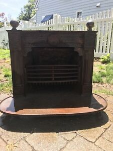 Antique Cast Iron Franklin Stove Coal Wood Fireplace Insert