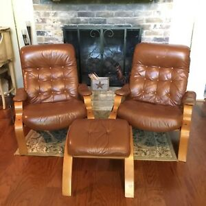 Mid Century Modern Westnofa Leather Armchair Recliners And Ottoman