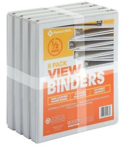 Member s Mark 1 2 Round ring View Binder White 8 Pk Just In Time For School