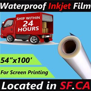 54 X 100 roll waterproof Inkjet Silk Screen Printing Transparency