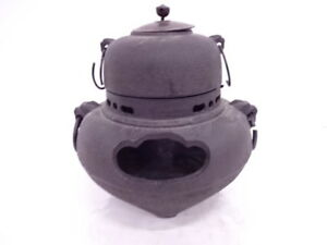 3713649 Japanese Tea Ceremony Iron Brazier Kettle Set W Kamakan Handles