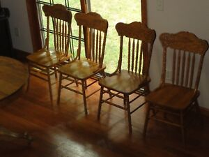 Old Antique Solid Oak Furniture Chairs Nice Excellent Condition Set Of 4