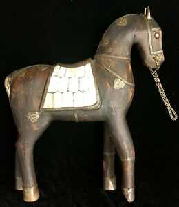 Antique Folk Art Carved Wood Battle Horse Bone Primitive Spanish Revival Persian