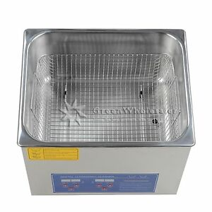 New Stainless Steel 10l Industry Heated Ultrasonic Cleaner Heater W timer