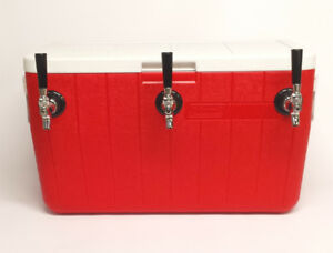 Jockey Box Draft Beer Cooler 3 Faucet 50 Stainless Steel Coils 48qt Red
